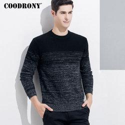 Мужской кашемировый пуловер COODRONY, теплый толстый свитер из мериносовой шерсти с круглым вырезом, зима 2018, 8337
