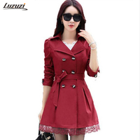 1PC 2016 Trench Coat For Women Spring Coat Double Breasted Lace Casaco Feminino Autumn Outerwear Abrigos