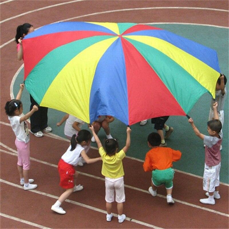 New Dia 2M Children Games Rainbow Umbrella Educational Outdoor Sports Toys Fun Cloth Parachute Ballute Kindergarten Kids