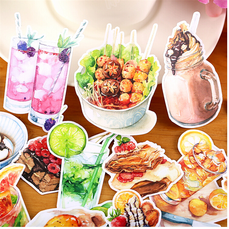 15pcs Creative Cute Self-made  Cool Afternoon Tea Food Drink Scrapbooking Stickers /Decorative Sticker /DIY Craft Photo Albums