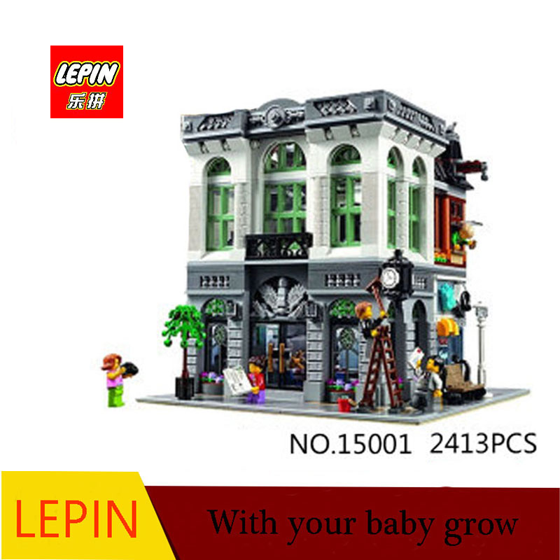DHL LEPIN 15001 2413PCS City Street Brick Bank Model Building Assembling Blocks Bricks Toy Compatible With 10251 lepin 15009 city street pet shop model building kid blocks bricks assembling toys compatible 10218 educational toy funny gift