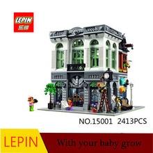 DHL LEPIN 15001 2413 UNIDS Calle de La Ciudad de Ladrillo Banco Modelo de Juguete Montaje de Bloques de Construcción Ladrillos Compatible Con legoed ciudad 10251