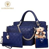LUDESNOBLE 4 Set Bags Handbags Women Famous Brands Bag Female Bags Leather Shoulder Bags Women Bolsos