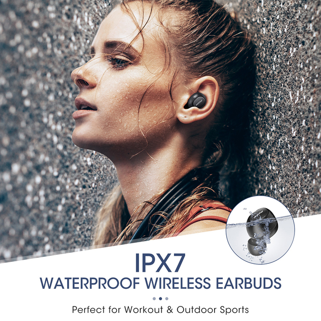 Original Mpow T5 Bluetooth 5.0 TWS Earphone Aptx IPX7 Waterproof Sport Earphones With Noise Canceling Mic For iOS Android Phone 4
