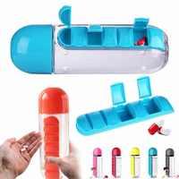 600Ml Botella De Agua portátil con Pastillero De 7 días Verre plástico Botella De Agua medicina médico set De envases