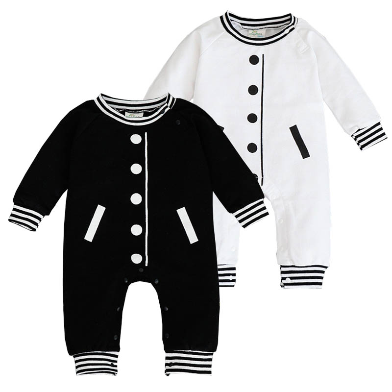 New Born Romper Sports Jumpsuits Baby Baseball Clothes Long Sleeve Bebe Boy Clothes Black White Clothing Ropa Infantil Nino branded new quality cotton newborn baby girl clothing clothes romper creepers jumpsuits ropa bebe baby girls rompers long sleeve