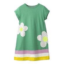 summer dress 2019 solid Cotton sunny sweet Floral Dress stripe princess dress 2-7T kids dresses for girls Robe Fille costume