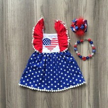 4th of July Girl Star Print Pinafore Princess Dress