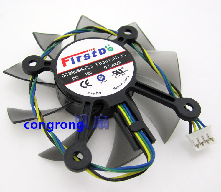 R128015SU/FD8015U12S 75mm 43mm 12V 0.5A 4Wire 4Pin PC Cooler Graphics Card Cooler Fan For ASUS HD6770 EAH5830 GTS 260 450