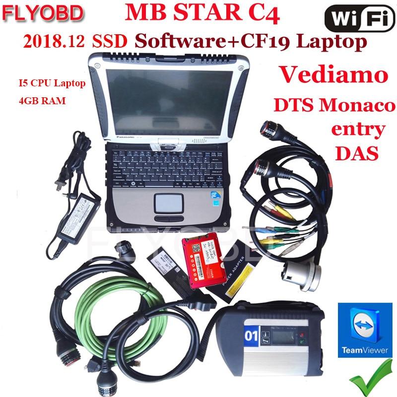 A + + Qualité MB Star C4 SD Connecter avec le Logiciel 2018.12 V SSD i5 Ordinateur Portable CF19 travail pour star diagnostic c4 De Diagnostic-Outil entièrement kit