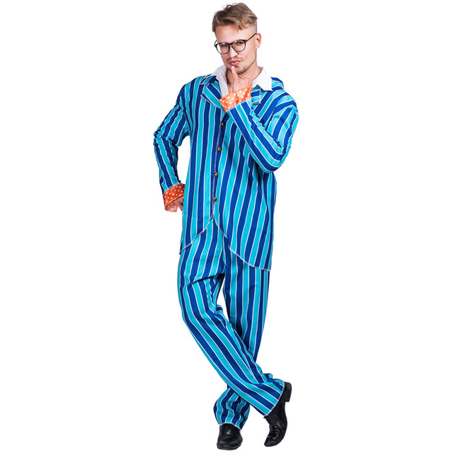 5cc9bc6d1a43 Austin Powers Costume Men's 80s Blazer Party Cosplay Blue Striped Disco Costumes  Suit Adult Halloween Costume