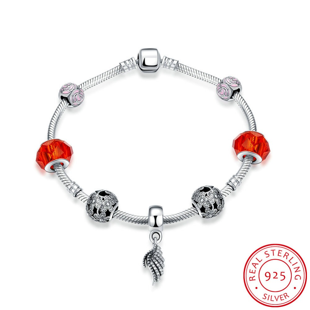 100% 925 Sterling sliver Bangles & Bracelet With Sweetheart Charms Beads Luxury Jewelry Original Gift H002