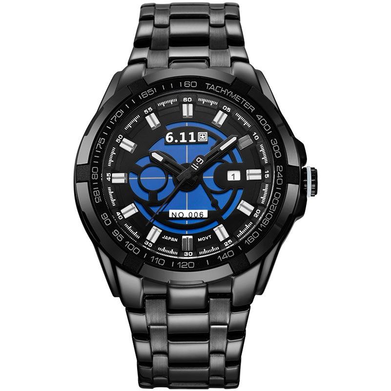 6 11 fashion casual men s sport quartz watches brand solar powered skeleton wristwatches steel band