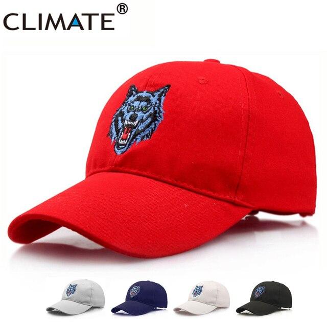 ec013457e87fc Climate wow weerwolf timber bos wolf hoofd baseball caps borduurwerk  verstelbare rood zwart katoen sport hoed