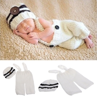 Handmade Knitting Soft Hat Pants Set Baby Clothing Accessories Photography Props -B116