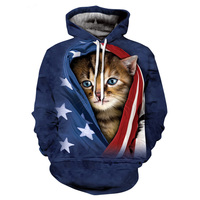 2017 New Fashion Cool Sweatshirt Hoodies Men Women 3D Print The American Flag Cat Fashion Hot