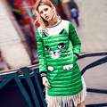 2016 winter new cartoon printing trend down dress  long sleeve female tassel stitching down dress
