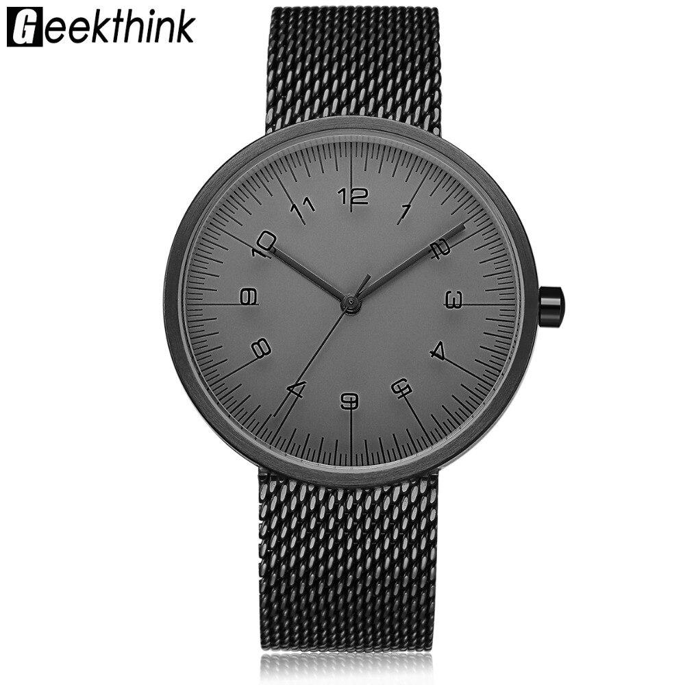 GEEKTHINK Top Marque De Luxe montre À Quartz hommes Noir Casual Japon quartz-montre en acier inoxydable Maille Bande Creative horloge mâle