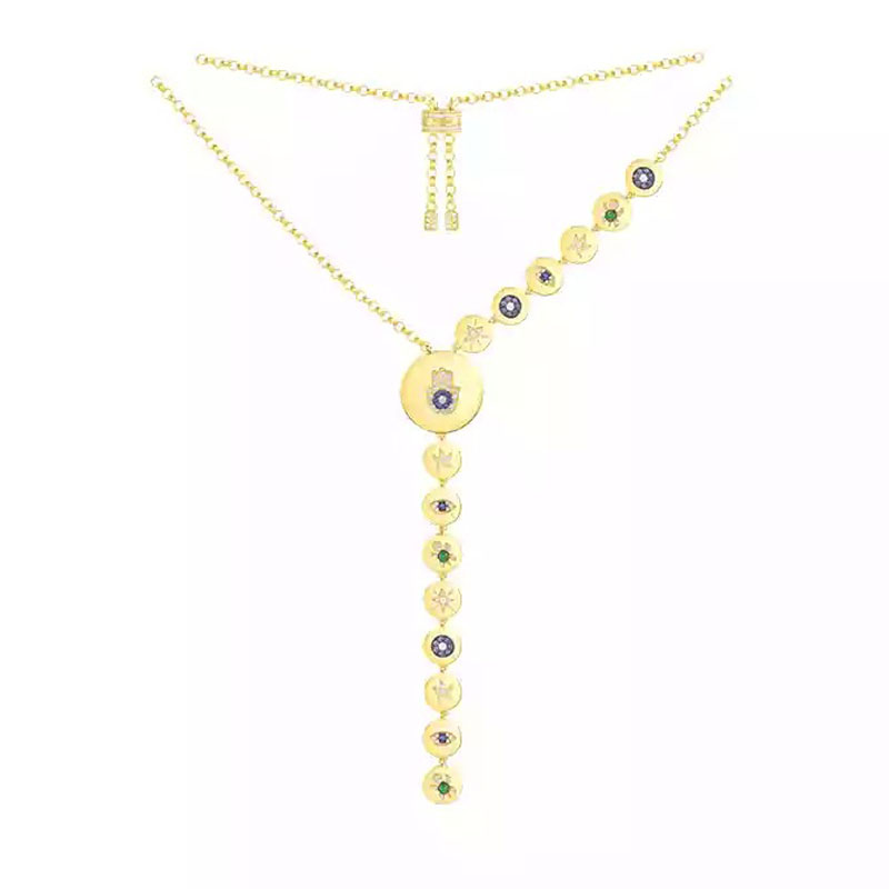 Luxury 925 Sterling Silver Yellow Gold Color Lucky Hand Eye Symbol Long Necklace Micro Cubic Zirconia