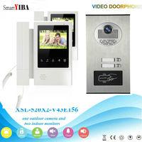 SmartYIBA 2 Units Apartment Intercom Wired 4.3 Monitor RFID Video Door Phone Doorbell Audio Visual Doorbell Intercom System Kit
