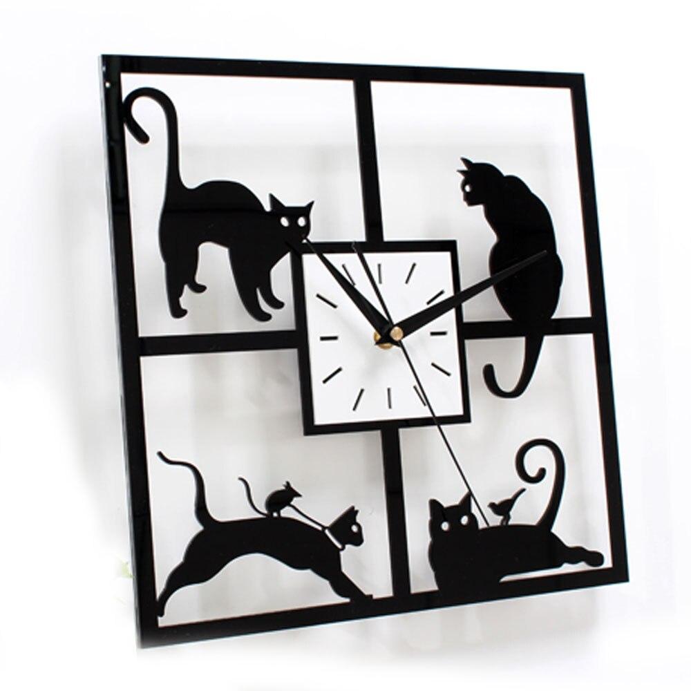 Nette Katze Wanduhr Einfaches Modernes Design Wohnzimmer Uhren ...