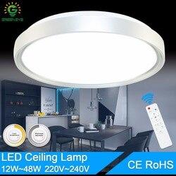 โมเดิร์นโคมไฟเพดาน AC 220V 240V 12W 24W 36W 48W LED สีเพดาน shell รีโมทคอนโทรลโคมไฟโคมไฟห้องรับแขก