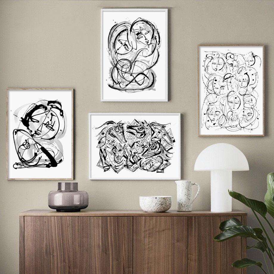 Abstract Line Woman Horse Nordic Posters And Prints Wall Art Canvas Painting Black White Pictures For Living Room Decor