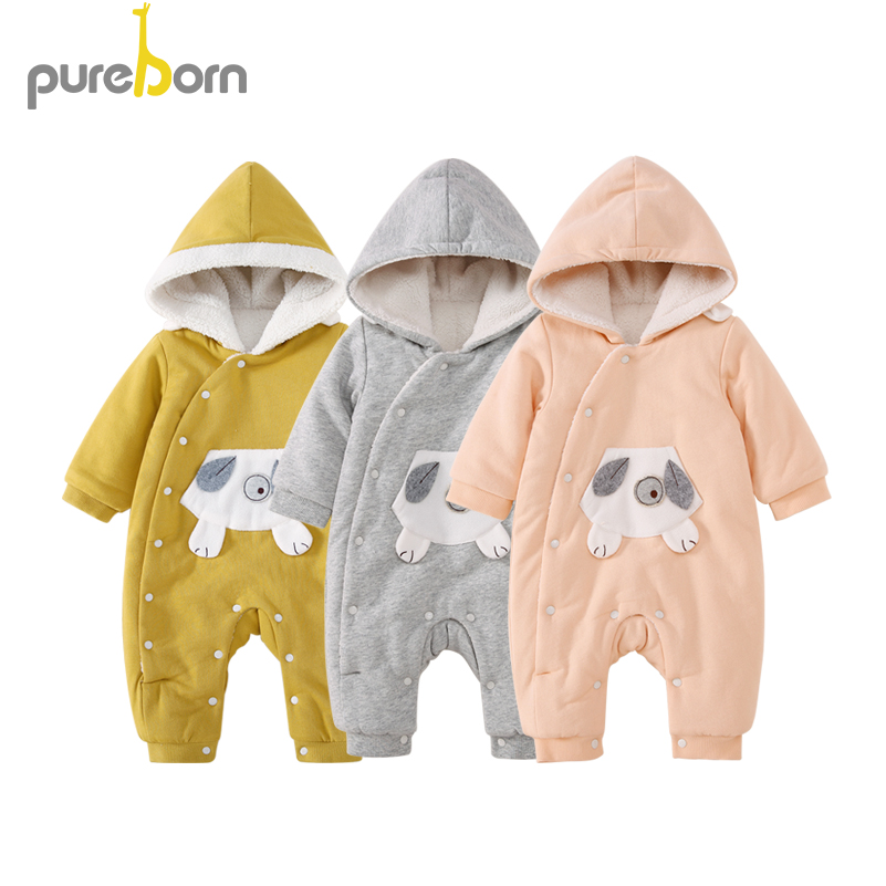 Pureborn Baby Romper Warm Thicken Baby Clothes Cotton Jumpsuit Newborn Hooded Overall Baby Girl Boys Costume Gift Brand Boys' Baby Clothing Bodysuits & One-pieces