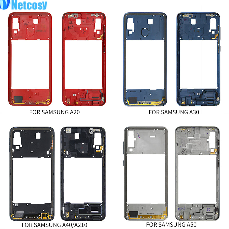 Netcosy Middle Frame Bezel Middle Plate Cover Replacement Parts For Samsung Galaxy A20 A30 A40/A210 A50 Mid Housing Case