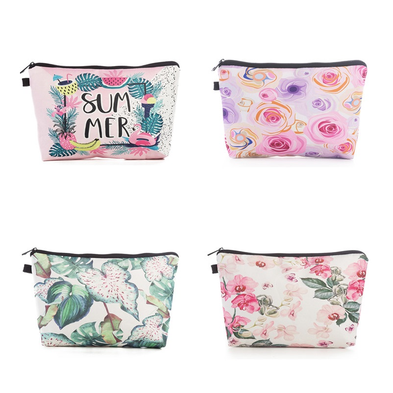Miyahouse Canvas Cosmetic Bag Women Make Up Pouch Floral Printed Zipper Organizer Storage Pouch For Female Toiletry Wash Bag