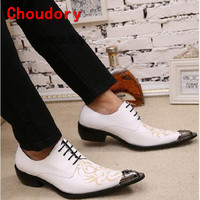 Mens Pointed Toe Dress Shoes Men Leather Crocodile Skin White Wedding Classic Oxford Shoes For Men