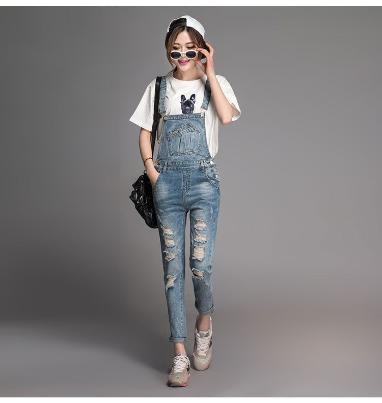Fall Spring Boyfriend style Loose Denim Overalls Ripped hole Jeans Rompers Plus Size 7XL Jumpsuit Destructed Cargo Pants 92807