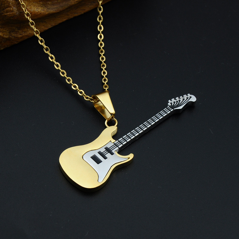 Mcsays Hip Hop Stainless Steel Jewelry Electric Guitar Pendant 60cm