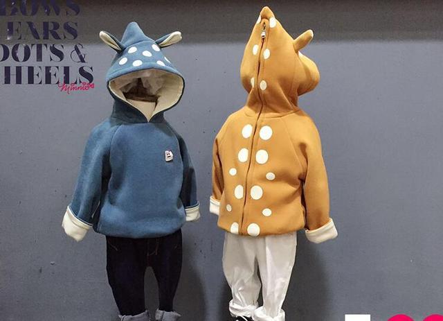 Lo nuevo de Las Muchachas Volver Cremallera Oído de la Historieta Con Capucha Sudaderas Con Capucha Niños Dot Impreso de Manga Larga de Algodón Casual Sudaderas Abrigos Ropa