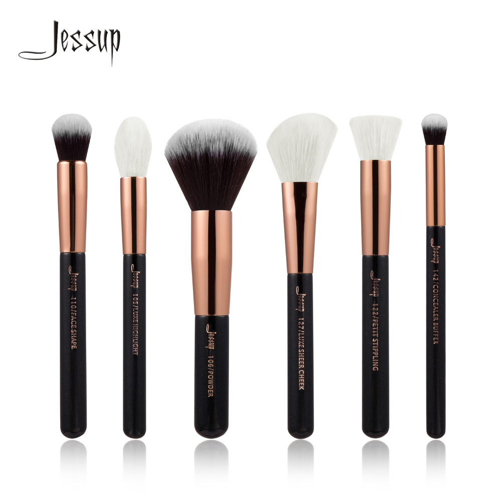 Jessup Black/Rose Gold Professional Makeup Brushes Set Make up Brush Tools kit Buffer Paint Cheek Highlight Make up brush beauty 2016 new arrival black dual purpose eyelash assist device extension beauty supplies brow brush lash comb makeup brushes tools
