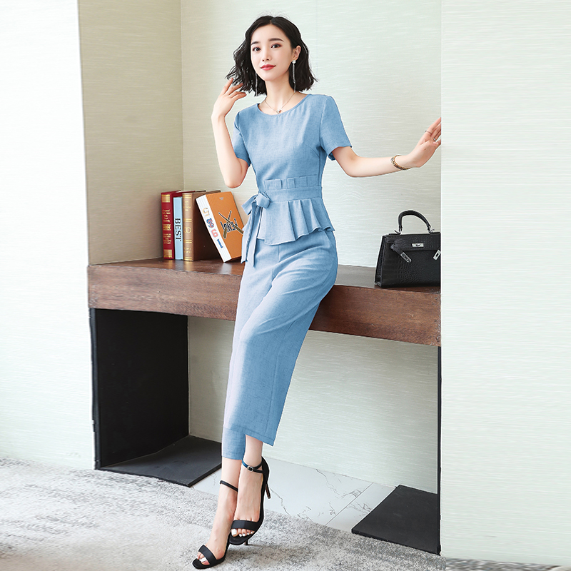 L-5xl Summer Elegant Two Piece Sets Outfits Women Plus Size Lace-up Bow Tunics Tops And Cropped Pants Suits Office Korean Sets 46