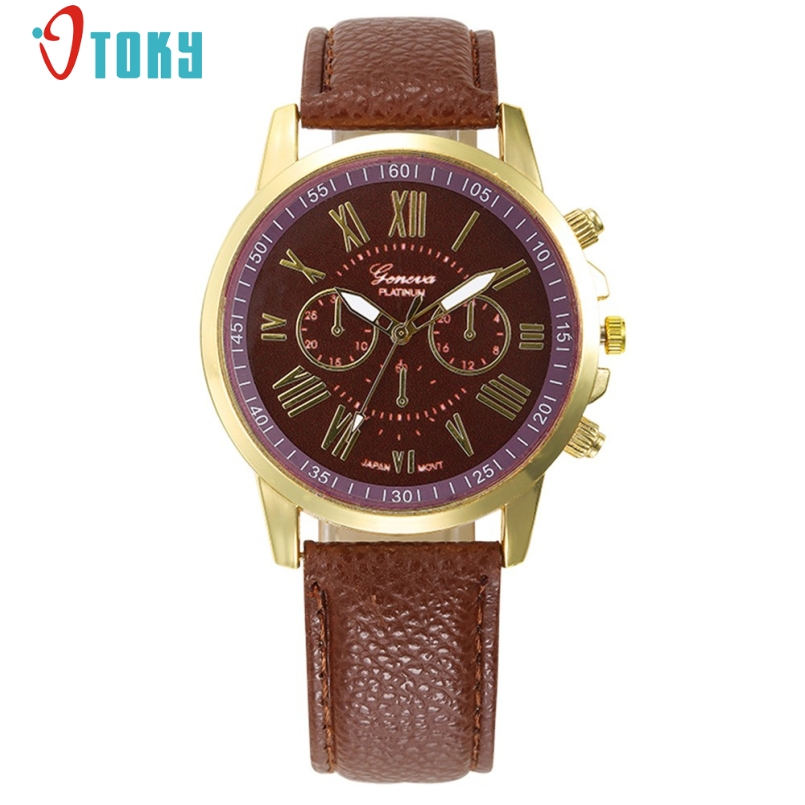 Excellent Quality Luxury Women Watch Leather Brand Roman Numerals Big Dial Hour Analog Quartz Wrist Watches Hour Reloj Mujer