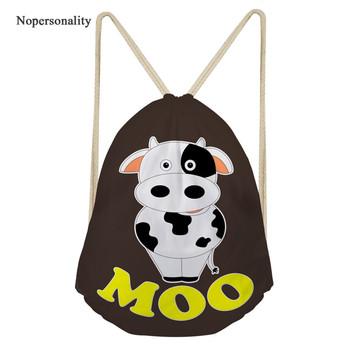 Nopersonality Drawstring Bags Kids Cute Cow Printing Drawstring Backpack Student Casual Drawstring Bag Softback Storage Bagpacks фото