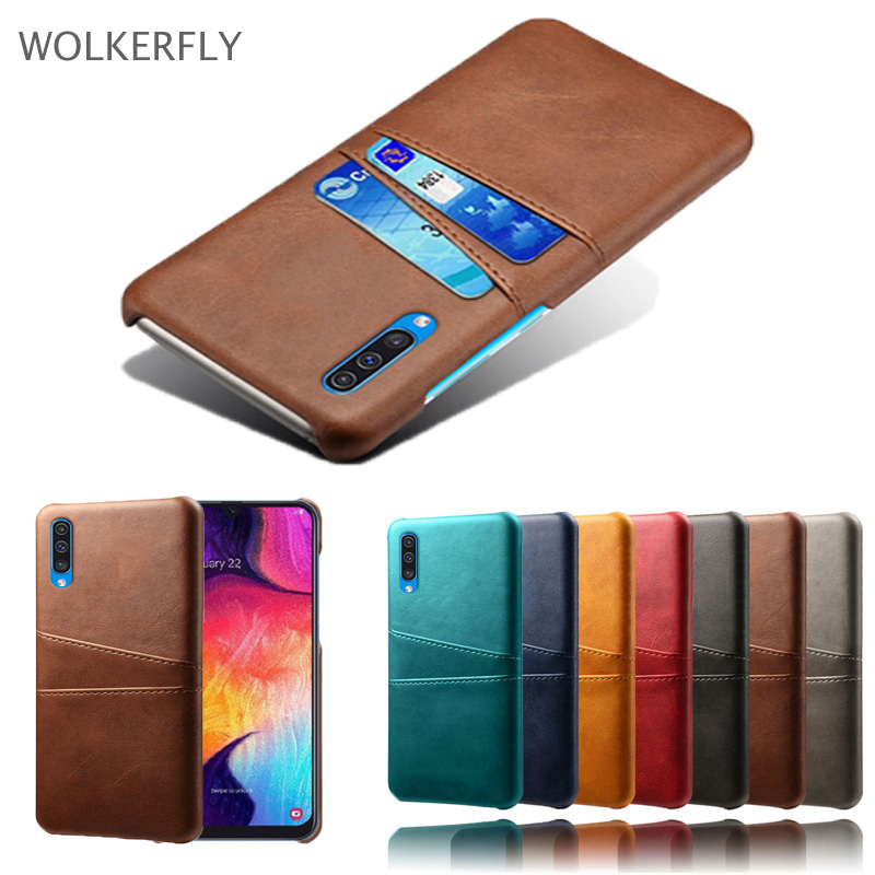 Leather Case For Samsung Galaxy A70 A60 A50 A30 2019 M30 M20 S10 Lite Plus A8S A6S A7 A9 A8 A6 J8 J6 J4 2018 Card Insert Cover image