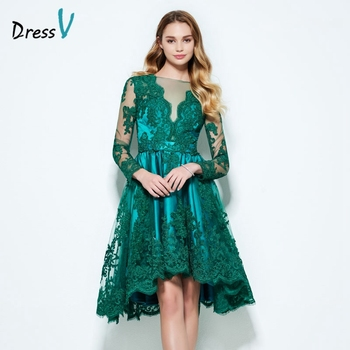 Dressv hunter A-line appliques homecoming dress long sleeves boat neck high low button lace homecoming dress graduation dress a-line