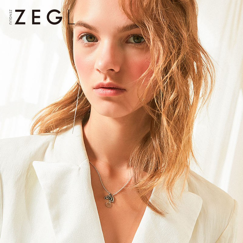 ZEGL web celebrity niche necklace pendant new collarbone chain plated white gold necklace with accessories