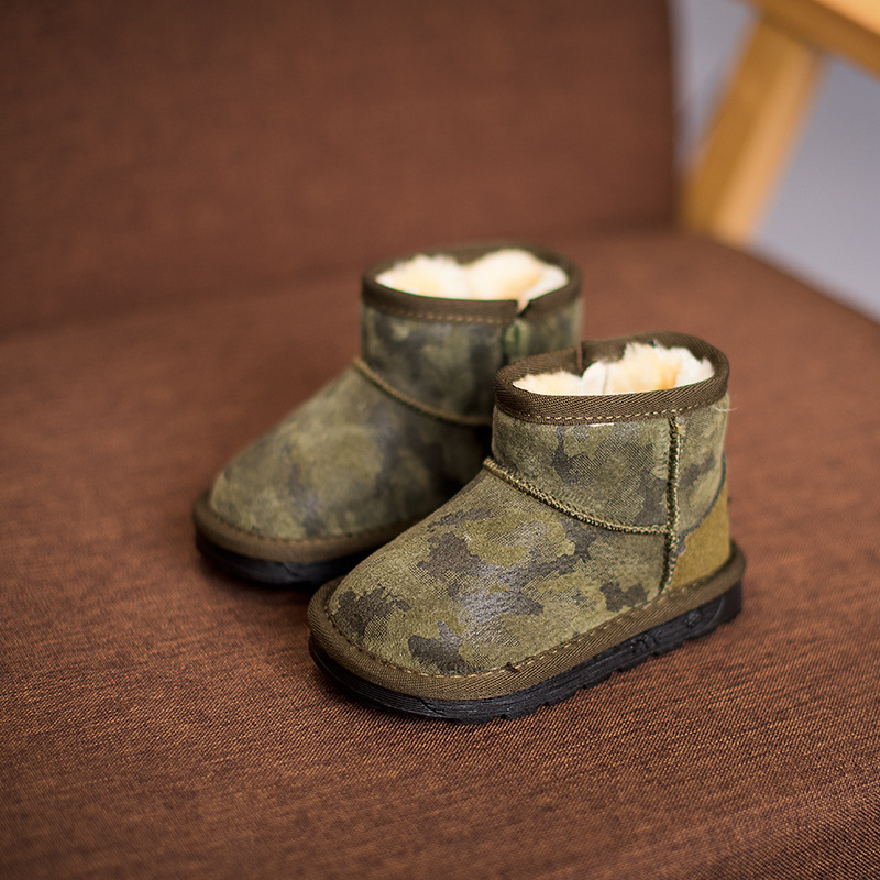 2017 Boys winter shoes camouflage boys snow boots with fur kids winter shoes children genuine leather rubber boots