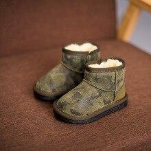 2017 Garçons d'hiver chaussures camouflage garçons bottes de neige avec fourrure enfants d'hiver chaussures enfants en cuir véritable bottes en caoutchouc