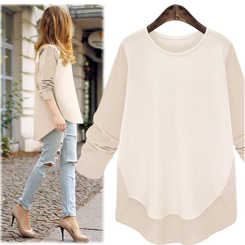 Autumn 2018 New Women Blouses Sexy Casual Loose Women Tops Long Sleeve O-neck Patchwork  ...