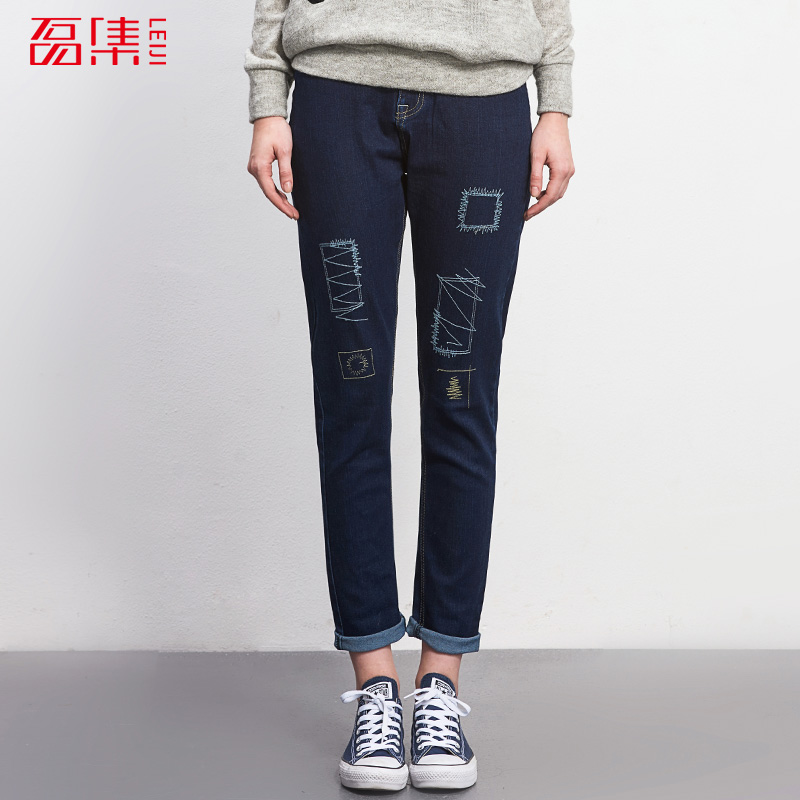 2017 LEIJIJEANS Jeans women mid elastic dark blue plus size jeans with Embroidery pants full length loose style straight Fat MM 2017 leijijeans jeans women mid elastic dark blue plus size jeans with embroidery pants full length loose style straight fat mm