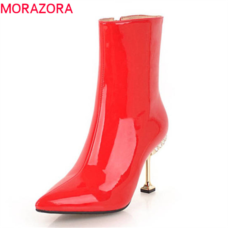 MORAZORA 2020 top quality patent leather ankle boots for women pointed toe autumn winter high heels