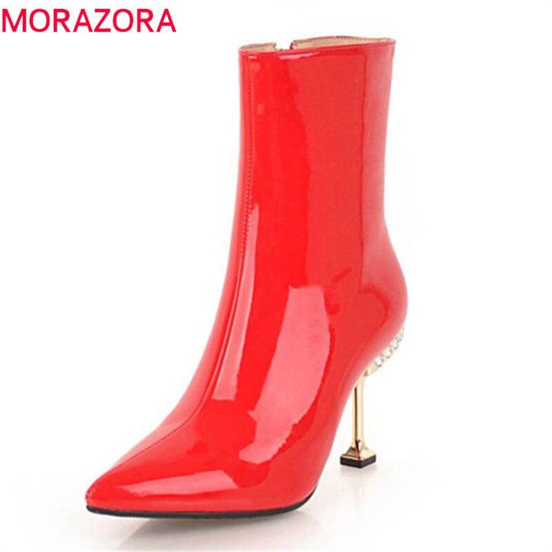 MORAZORA 2020 najwyższej jakości skóry lakierowanej botki dla kobiet szpiczasty nosek jesień zimowe na wysokim obcasie buty sexy szpilki w Buty do kostki od Buty na  Grupa 1