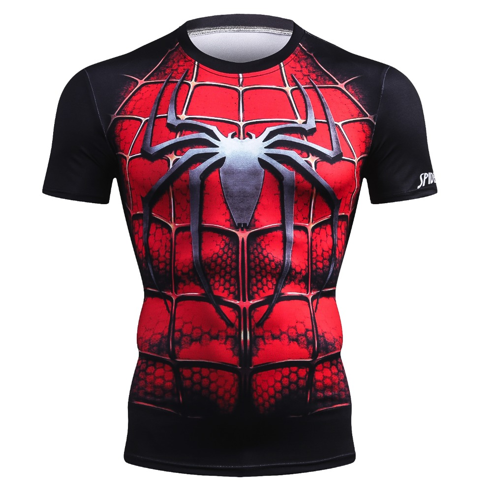 New Marvel Summer Brand Clothing   T  -  Shirt   Men Superhero Compression 3D Spiderman/Black Panther/Superman Men   T     Shirt   Bodybuilding