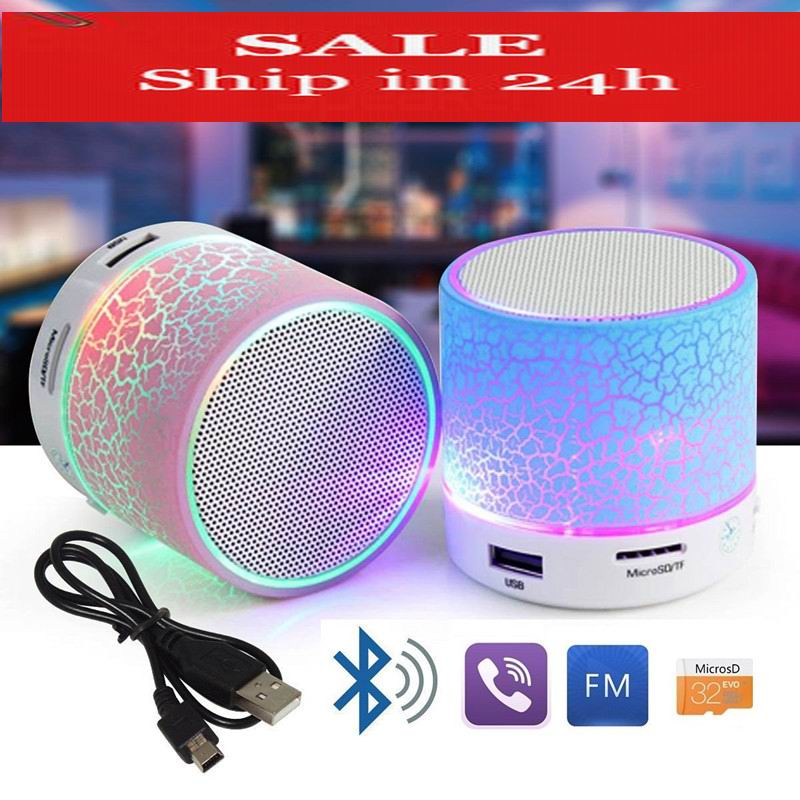 SMARCENT Mini Bluetooth Speakers LED Portable Wireless Hands Free Speaker With TF USB FM Mic Blutooth Music For iPhone 6 7 phone ewa d502 8w bluetooth v2 1 speaker w hands free mic 3 5mm tf usb sky blue