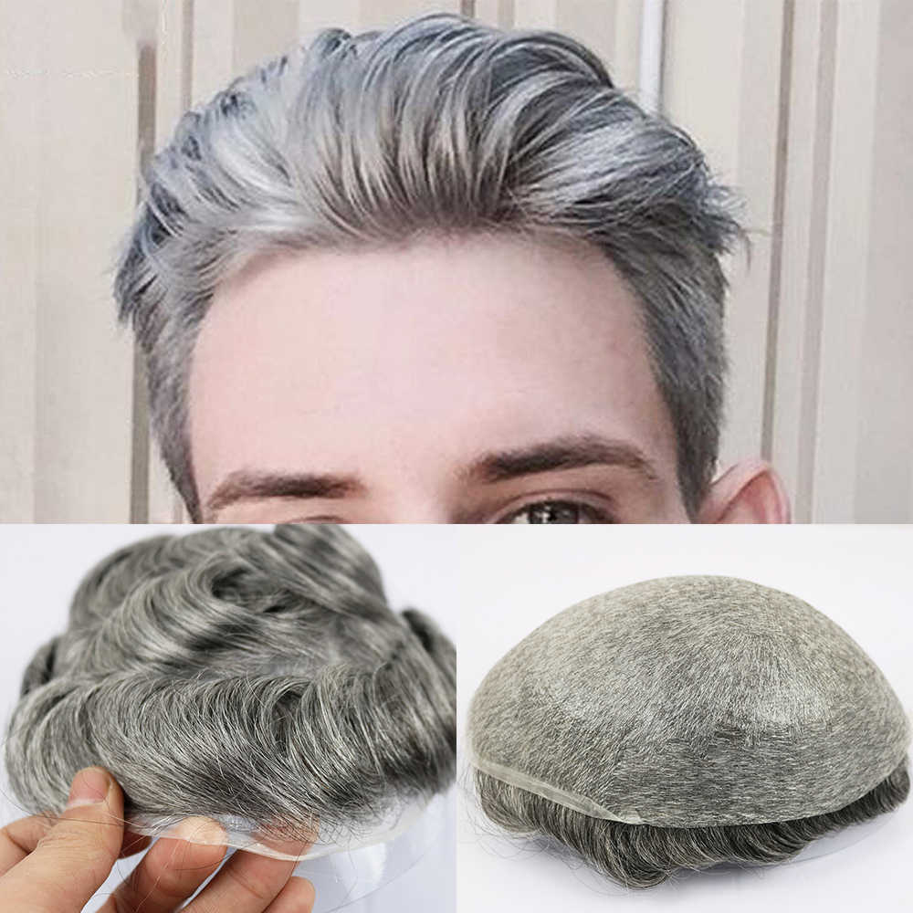 Eversilky 0.03-0.04 Thin Skin Toupee for Men Men's Hair Pieces Replacement System 1B65 Color Human Hair Mens Wig